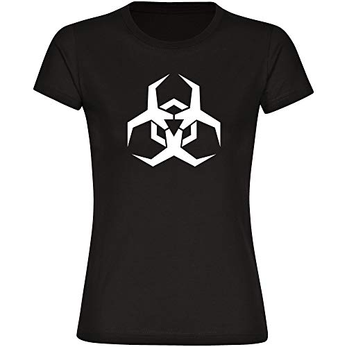 Maglietta da donna con simbolo di Biohazard Virus, colore nero, taglia S - 3XL - Maglietta coronaviren covid 19 covid-19 virus quarantena Nero  L