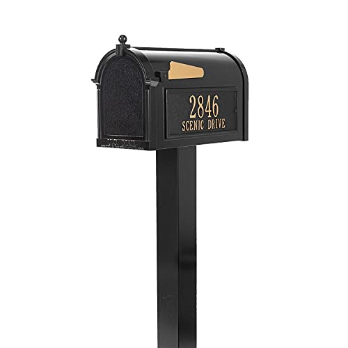 Whitehall Premium Custom Capitol Mailbox - Sand Cast Aluminum Top Mount Mail Box with Post - Black Personalized in Goldtone