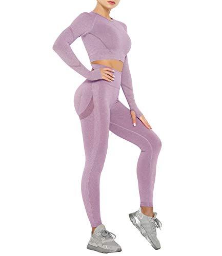 DUROFIT Conjuntos Deportivos para Mujer Leggins y Crop Top Deporte Sport Set Conjunto de Ropa Deportiva Legging Mallas de Yoga Fitness Cintura Alta Camiseta de Manga Larga Push Up Leggins Mujer