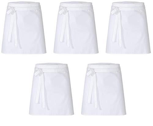 DESERMO 5er Set Premium kurzer Vorbinder 50cm x 80cm (L X B) I Hochwertige Taillen-Schürze für Frau und Mann I 100% Reine Baumwolle | Stoffgewicht 210g/m² (Weiß)