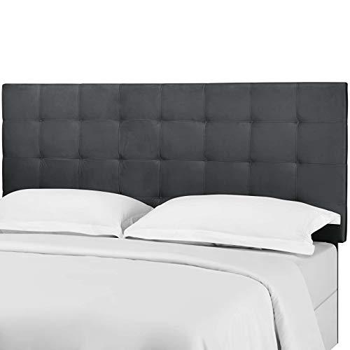 Contemporary Modern Urban Designer Bedroom King Size Tufted Headboard, Velvet Fabric, Grey Gray