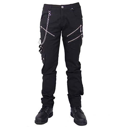 Blackmasksu - Pantaloni da uomo, stile gotico, stile punk, con bottoni sul davanti, colore: nero, Nero , S