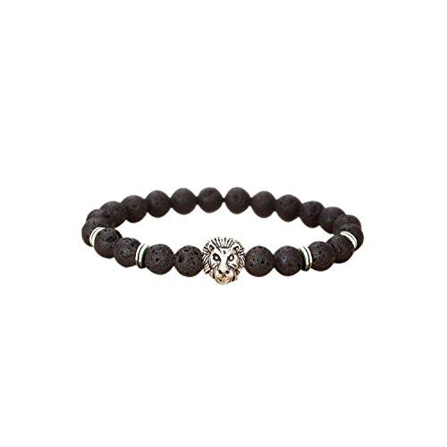 ESYN Stretch elastico naturale Pietra Lavica uomini neri 8mm Perle