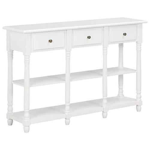 Lasamot Table Console Table de Salle Table d'appoint Meubles pour Hall, entrée, séjour MDF Blanc 120x30x76 cm
