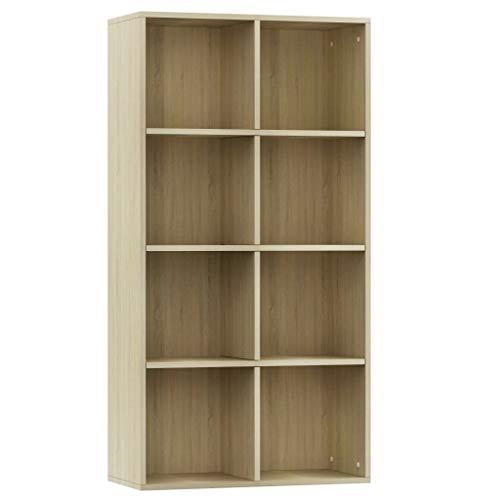 vidaXL - Biblioteca, aparador, armario de libros, armario de almacenamiento, mueble de almacenaje para salón, casa, interior, roble sonoma 66 x 30 x 130 cm