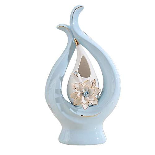 Ybzx Florero de cerámica Moderno y Simple Decoración de Escritorio, Utilizado para la decoración del Estudio del Dormitorio de la Sala de Estar Familiar, 32 Veces; 17 cm, (2 Colores Opcionales) (