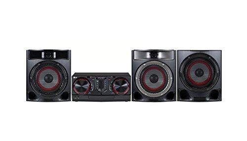 LG CJ45 Mini-HiFi-Anlage für den Heimgebrauch, Schwarz/Rot, 1CD-Player, Front-Lautsprecher, 3Ohm