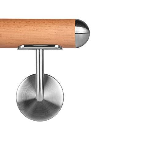 Buche leicht gedämpft Holzhandlauf Ø 42,4 mm Wandhandlauf 100 cm 2 Halter Halbkugel