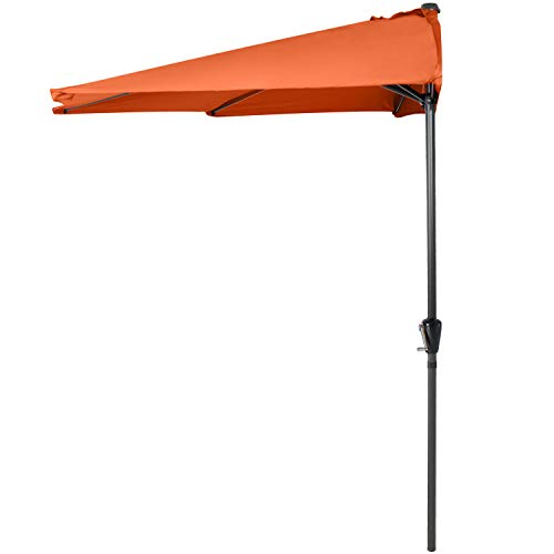 ABCCANOPY 11FT Patio Umbrella Half Round Outdoor Umbrella with Crank for Wall Balcony Door Window Sun Shade (Orange)
