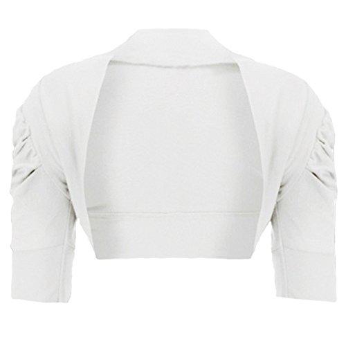 RageIT RageIt - Mädchen Strickjacke Bolero Rüschenärmel Kurz Baumwolle - 5-6 Jahre, Weiß