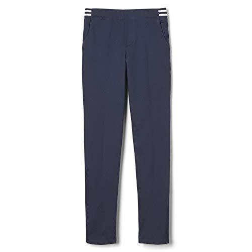 French Toast Girls' Big Stretch Contrast Elastic Waist Pull-on Pant, Navy, 12