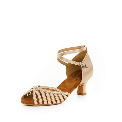 HXYOO Ballroom Dance Shoes for Women Salsa Latin Indoor Performance SA02(Nude-2  Heel 8.5)