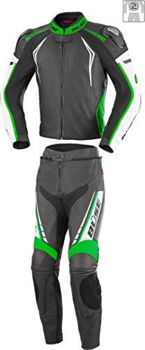 Büse Silverstone Pro 2-Teiler Damen Motorrad Lederkombi Schwarz/Weiß/Grün 44