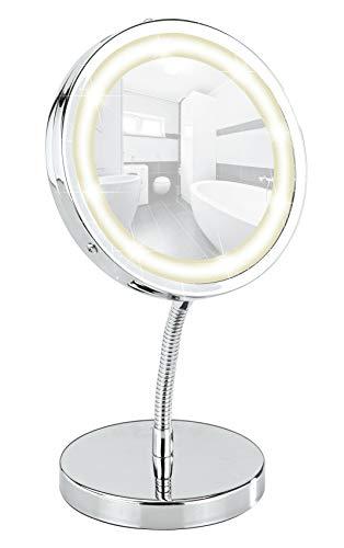 Miroir cosmétique sur pied Brolo, orientable, à DEL, 300%, chrome, miroir de Ø 11 cm, 15 x 16,5 x 13 cm