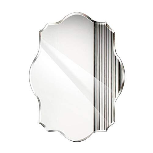 Wall-Mounted Mirrors Specchio da Parete per Bagno, Specchio da Parete Rotondo Senza Cornice, Poligono Smussato per Trucco Specchio Creativo Soggiorno Camera da Letto45X60CM