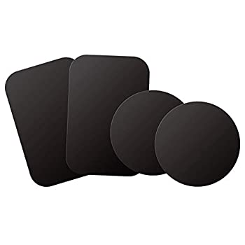 WixGear Mount Metal Plate with Adhesive for Magnetic Cradle-Less Mount -X4 Pack 2 Rectangle and 2 Round  Compatible with Magnetic mounts   Black