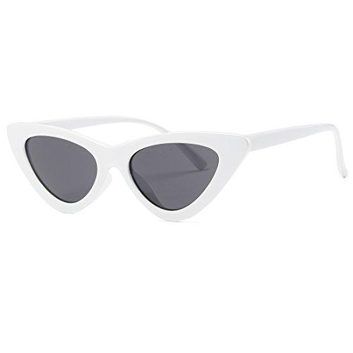 kimorn Ojos De Gato Gafas De Sol Para Mujer Clout Goggles Bisagras De Metal Plástico Marco K0566 (Blanco&Negro)