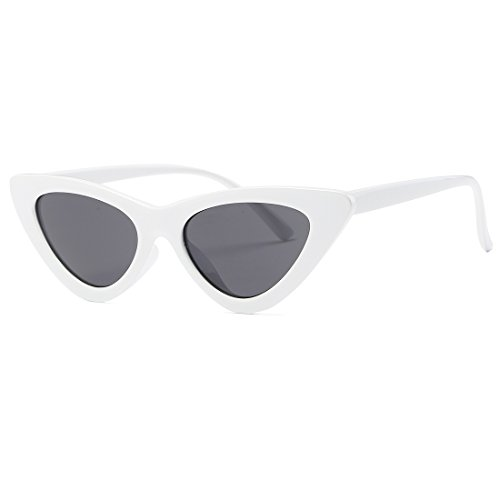 Kimorn Cat Eye Sunglasses Women Clout Goggles Kurt Cobain Retro Sun Glasses K0566 (White&Black)