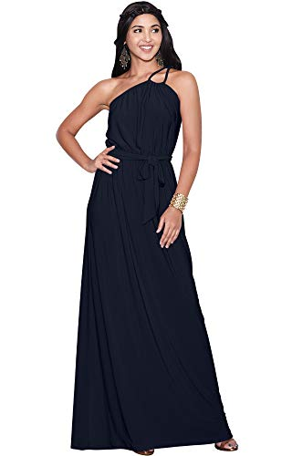 KOH KOH Womens Long Sleeveless One Shoulder Cocktail Evening Formal Bridesmaid Bridal Wedding Party Summer Sexy Cute Maternity Gown Gowns Maxi Dress Dresses, Dark Navy Blue L 12-14