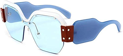 ZYIZEE Gafas de Sol Gafas de Sol cuadradas de Medio Marco a la Moda para Mujer Gafas de Sol cuadradas integradas Azules para Hombre Lentes Uv400-Wblue