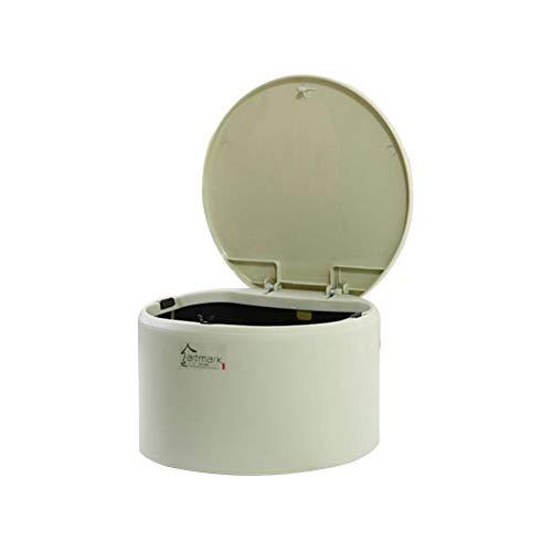 JUNGEN Papeleras de escritorio con Diseño de tapa Pequeño bote de basura de redondo Mini cubo de basura de plástico para Oficina Sala de estudio Cubo de almacenamiento (Verde)