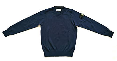 Stone Island Junior Maglione Girocollo in Cotone Blu da Bambino 7016504A4.V0020 (6 Anni)