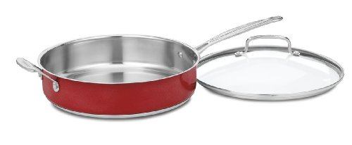 Cuisinart Chef's Classic Stainless 5-Quart Saute Pan with Helper Handle and Cover, Metallic Red