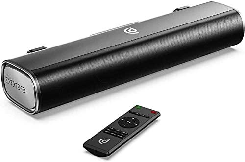 Mini Barra de Sonido 2.0 Canales para TV/PC, 50W Mini Soundbar Portátil Inalámbrico, Altavoces Bluetooth 5.0 con Control Remoto, Soporte Conexiones de Ópticos/USB/AUX, Black