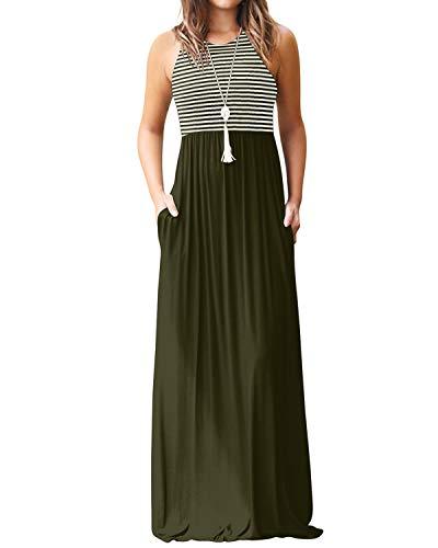 YOINS Maxikleider Damen Strandkleid Sommerkleid für Damen lang Ärmellos Strandmode mit Streifen A-grün EU48