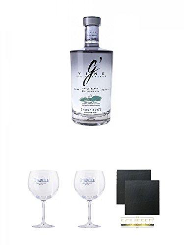 G' Vine Nouaison Gin Frankreich 0,7 Liter + Citadelle Ballon GIN Glas 1 Stück + Citadelle Ballon GIN Glas 1 Stück + Schiefer Glasuntersetzer eckig ca. 9,5 cm Ø 2 Stück