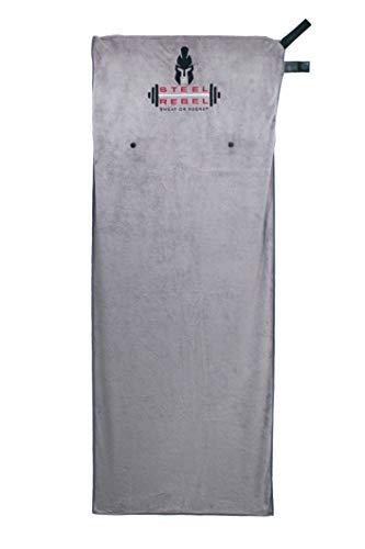 Steel Rebel - Sporthandtuch Fitnesshandtuch - 125cm x 50cm aus Weicher Mikrofaser mit 25cm Integrierter Reißverschlusstasche und Magnet - Home Workout
