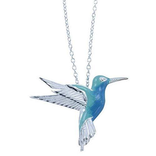 Xzbnwuviei Collar con colgante de novia azul colibrí volador pintura al óleo pendientes coloridos animales brid Stud pendientes joyería de moda