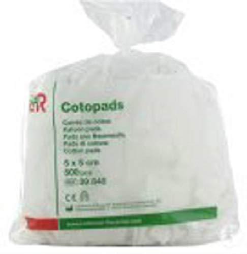 Cotopads (pluisvrije pads) 5 x 5 cm - 500 stuks - 100% katoen - voor het pluisvrij reinigen en/of verzorgen van de huid - nagels - voeten (baby - manicure - pedicure - verzorging)