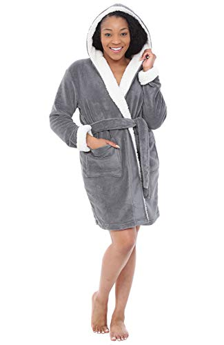 Alexander Del Rossa Womens Short Fleece Hooded Robe, Bathrobe with Trim, Small Medium Steel Grey (A0277STLMD)