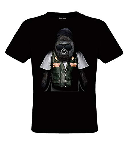 DarkArt-Designs Biker Ape - Gorilla Affen T-Shirt für Damen und Herren - Tiermotiv Shirt Wildtier Biker Rocker Fun Party&Freizeit Lifestyle Regular fit, Größe XXXL, schwarz