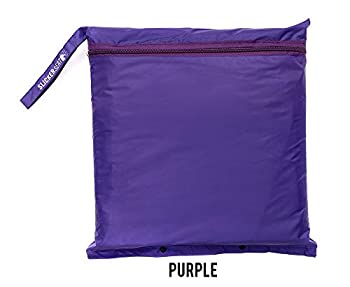 Slicker Seat Unisex Raincoat - Built-in Portable Poncho w/Stadium Seat Cushion - Purple