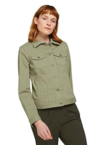 Tom Tailor 1024470 Basic Chaqueta de Jean, 15615 Prairie Grass Green-Juego de Mesa (3 Unidades), Color Verde, XS para Mujer