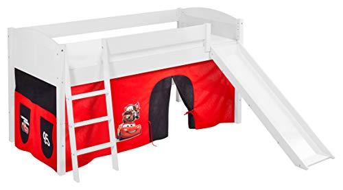 Lilokids Spielbett IDA 4106 Disney Cars-Teilbares Systemhochbett weiß-mit Rutsche und Vorhang Kinderbett, Holz, 208 x 220 x 113 cm