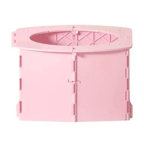 Inodoro portátil plegable para camping, inodoro portátil plegable, taburete plegable para adultos y niños, para senderismo, viajes largos, atascos (rosa)