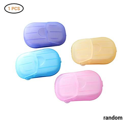 Macabolo 20 Pcs/Box Einweg duftende Seife Papier tragbare Seifenblätter mit Kunststoff Box für Reisen Camping Zufällige Farbe