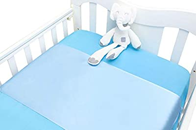 Cozysilk 100% Mulberry Silk Cot Sleeve for Cribs / Bassinets, Cot or Crib Semi Sheet, Mini Crib Silk Slip, No More Bed Head and Baby Bald Spots (Light Blue)