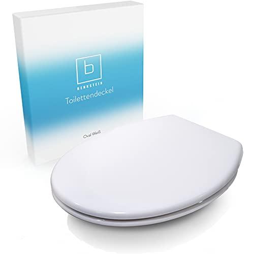 Benkstein® Premium Toilettendeckel antibakteriell oval weiß. Klodeckel mit Quick-Release-Funktion und Softclose Absenkautomatik. Klobrille aus Duroplast und rostfreiem Edelstahl abnehmbar. WC Sitz