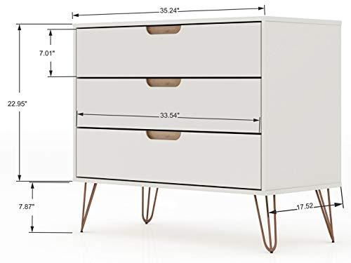 Manhattan Comfort Rockefeller Mid-Century Modern 3 Drawer Bedroom Dresser, 35.24', Off White and Nature