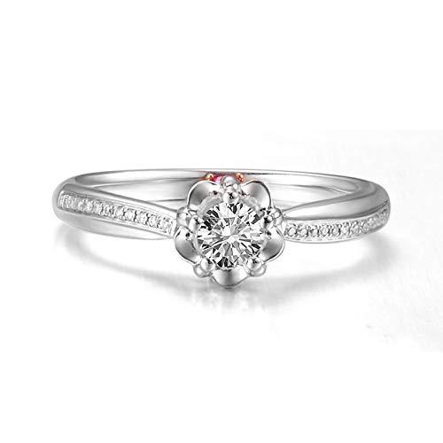 ANAZOZ Anillos Mujer Oro Blanco 18K,Anillo Plata Mujer Compromiso Flor con Redondo Diamante 0.036ct Rubí Rojo 0.059ct Talla 12