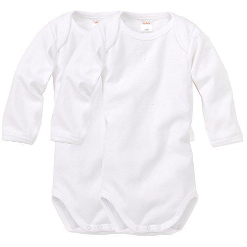 wellyou Body dla niemowląt i dzieci z długim rękawem / body niemowlęce dziewczynki i chłopcy ze 100% bawełny, body z długim rękawem zestaw 2 sztuk w klasycznej bieli rozm. 50-134