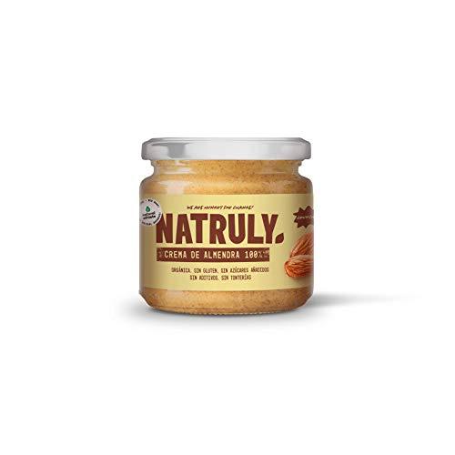 NATRULY Pureé d'Amande Biologique Crunchy, Beurre d'Amande Sans Sucre, Sans Gluten, Sans Huile de Palme - 300g
