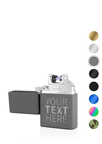 TESLA Lighter T03 elektronisches Lichtbogen Feuerzeug, personalisiert als Geschenk zu Weihnachten, Geburtstag, wiederaufladbar per USB inkl. Geschenkverpackung, Matt Grau inkl. Text-Gravur