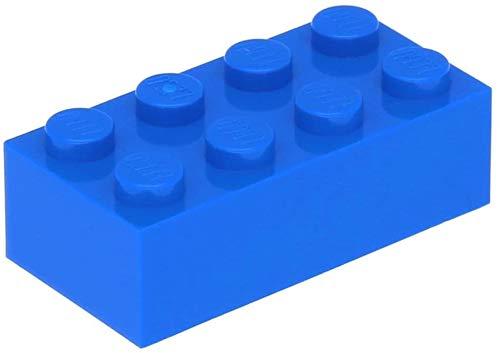 LEGO Classic 100 Stück 2x4 Steine (3001) mit Steinetrenner (blau)