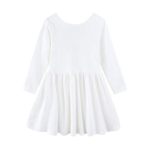 Mud Kingdom Niñita Manga Larga Llanura Vestido Columpio Escotado por Detrás Algodón Blanco 6 Años
