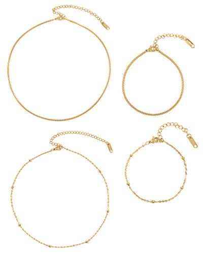 Happiness Boutique Damen Edelstahl Schmuckset in Goldfarbe 4-TLG. | Zarte Choker Ketten und Filigrane Armbänder
